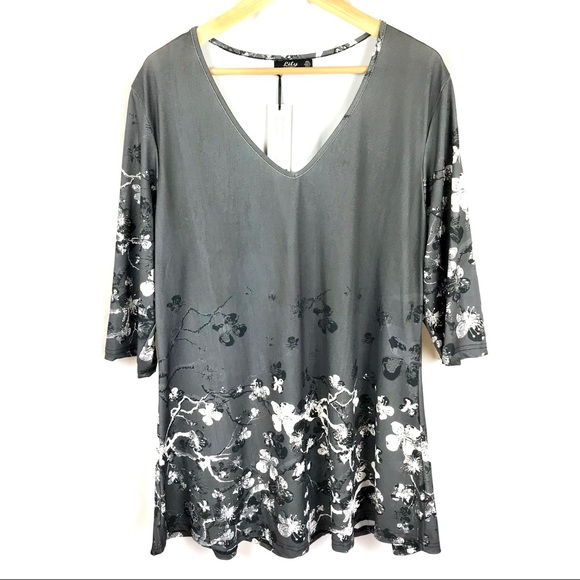 281a3563fca Lily by Firmiana Tops | Zulily Floral Stretchy Tunic Blouse V Neck ...